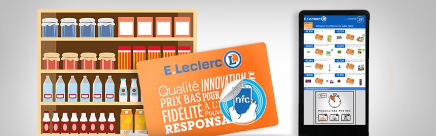 Leclerc DOOH et NFC pour télécharger des coupons de réduction